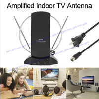 Wholesale Tv Antenna Connectors - LAN-1014 Amplified HDTV Indoor Digital TV Antenna 50 Mile Range UHF   VHF with Power Supply for DTV   FM Receiver F Connector US Plug
