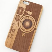 Wholesale Cool Wood Carvings - Natural Wood Cellphone PC Back Cool Case For iPhone 5 5S SE 6 6S 6PLUS 7 Wooden Protector Coque Skins 3D Animal Carved