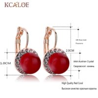 Red Coral Earrings Round Ball Natural Stone Wedding Bride Jóias Crystal Cubic Zirconia Pendientes De Coral Rojo Earrings