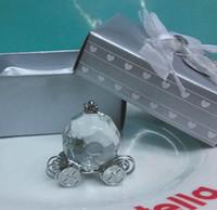 gelin hatıra toptan satış-Gelin Duş Hediyelik Eşya misafirler Kristal Kabak Antrenör Arabası Kristal Düğün Hediyeleri Şekerleri misafirler için keepsake 100 adet Toptan