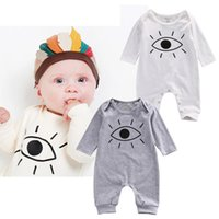Wholesale INS Fashion Cute Animal Romper Cartoon Big Eyes Printed Unisex Baby Boys Girls Clothes Rabbit Totoro Newborn Baby Infant Jumpsuit