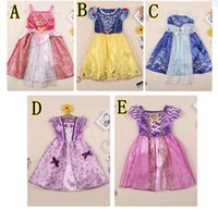 Wholesale Wholesale Satin Puffs - Snow white Cinderella belle princess dress Sofia rapunzel dress Sleeping beauty princess aurora flare sleeve girls birthday party costume dr