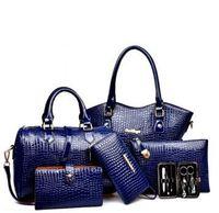 Wholesale Tartan Purse Wholesale - 2017 TOP quality 6pcs lot Women Ms. girl embossed handbags shoulder bags messenger bags purse wallets new fashion handbag