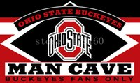 Wholesale Ft Men - Ohio State Buckeyes Flag MAN CAVE 3x5 FT Banner 100D Polyester Flying Flag US Brass Grommets free shipping