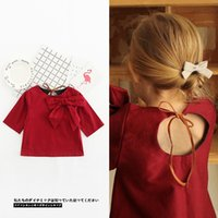 Wholesale Girls Princess Tee Shirts - Baby Girls T-shirt INS summer new children bows short sleeve tops toddler kids backless lace-up bows T-shirt girls princess tees A0472