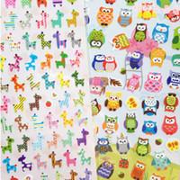 Wholesale Scrapbooking Sheets - Wholesale- 4 Sheet Owl Giraffe Animal Print Memo sticker Cute Drawing Market Diary Transparent Scrapbooking Calendar Album Decor Sticker