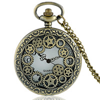 Wholesale Skeleton Necklace Bronze - Wholesale-Vintage Bronze Gear Hollow Skeleton Design Steampunk Pocket Watch Necklace Good Quality P619