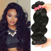 Wholesale wavy hair sale resale online - Hot Sale Brazilian Body Wave Human Virgin Hair Peruvian Malaysian Indian Hair Weaves Mink Brazililan Hair Wet and Wavy Body Wave Color B