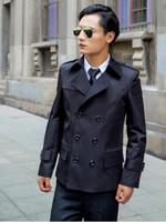 Wholesale Mens Long Sexy Shorts - Europe khaki 2017 new slim sexy short trench coat men overcoat long sleeve mens clothing business outerwear casaco masculino