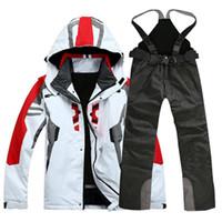 jacken hosen skifahren großhandel-Hochwertige Outdoor-Sportbekleidung Herren Skijacke Skihose Skianzug winddicht wasserdichte Skibekleidung