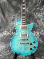 natürliche mahagoni e-gitarre großhandel-neue Ankunft heißer Verkauf Standard E-Gitarre mit Blue Flame Maple Top, Mahagoni Natural zurück, alle Farben sind verfügbar