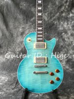Wholesale Electric Guitar Natural Color - new arrival hot selling Standard Electric guitar with Blue Flame Maple Top, Mahogany Natural back, All color are Available
