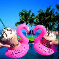 Wholesale Pvc Water Supply - PVC inflatable water supplies coasters Flamingo ,unicorn, coconut, watermelon pineapple lemon, donut inflatable floating beverage cup holder