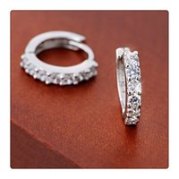 Atacado Moda Brincos Jóias 925 Sterling Silver Stud Rhinestones Hoop Diamond Stud Earrings Para Mulheres Beautiful Gift Free DHL