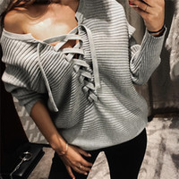 Wholesale Long Lace Arm Sleeves - 2016121017 spring arm lace up hoodie sweatshirt women gray casual jumper pullover Winte slim long sleeve pullovers tracksuit