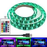 Wholesale Tv Remote Control Screen - Waterproof 5050 USB LED Strips100cm Backlight RGB Lights with Remote Control for HDTV Flat Screen TV Accessories and Desktop PC Multi Color