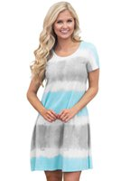Wholesale Tie Dye Shirts For Women - 2017 Summer Newest Fashion Plus Size Shirt Dresses For Women Casual Style Tie Dye Colorblock Short Sleeve Boho Mini Dress