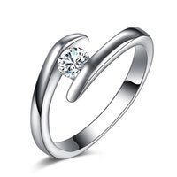 Wholesale Simple Ring Designs For Women - Birthday Christmas Gift Simple Design High Quality 925 Silver White Gold Color Crystal Ring Jewelry Wedding Rings For Women Accessory