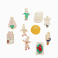 Wholesale Rabbits Animation - Wholesale- Retro Korean jewelry simple and lovely rabbit milk bags men and women enamel brooch 2016 cartoon animation badge wholesale