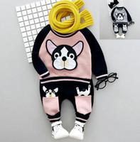 Wholesale Napped Pants - 2017 Winter Baby Kids Cartoon Dog Embroidery Clothes Set Boys Girls Soft Nap Cotton Sweatshirt + Pants 2pcs Children Outfits Set 13457