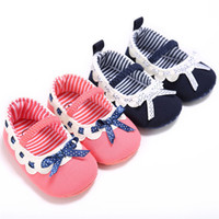 Wholesale Pink Ribbon Shoes - Baby Girls Princess Moccasins Prewalkers Infants Fabric soft sole shoes Dots Ribbon Bow first walking shoes 3sizes 2colors for girls 0-3T