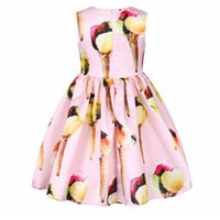 Wholesale Ice Princess Costumes - 2017 Girls Summer Dresses Ice Cream Print Costumes for Kids Clothes Children Princess Dress EuropeStyle Big Satin Plain Cotton Dress B4723