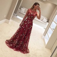 Wholesale Embroider Lace Silver - Designer Burgundy Vestidos De Fiesta O Neck Colorful Embroider Flowers Sleeveless Lace Prom Dress Formal Evening Dresses