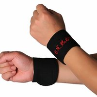 Vente en gros - 2 pcs Magnetic Self-Heating Therapy Wrist Brace Sports Protection Belt Drop Shipping