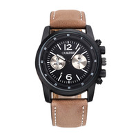 Wholesale Leather Glasses Cases For Men - Mens watch with genuine leather strap Watches for men Modern Style Quartz movement Stainless case Sub dials