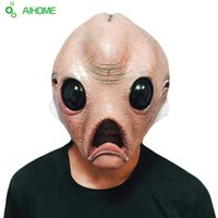 Atacado - Máscara de rosto de silicone assustador Extraterrestre extraterrestre ET Horror Máscara de látex de borracha para Show Fancy Dress Party Cosplay Halloween