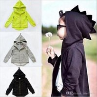 Wholesale Boys Cartoon Hoodies - Dinosaur Hoodies Jackets Boys Cartoon Hooded Tops Outwear Kids Animal Coat Children Ins Garment Sweatshirts Jumper Baby Kids Clothing H251