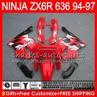 zx6r schwarz rot großhandel-8Geschenke 23Farben Für KAWASAKI NINJA ZX636 ZX6R 94 95 96 97 ZX-6R ZX-636 rot schwarz 33HM13 600CC ZX 636 ZX 6R 1994 1995 1996 1997 Verkleidungskit