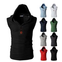 Wholesale Sleeveless Coats For Men - New Mens Hooded Vest Male Casual Sleeveless Jacket Fashion Gilet For Men Waistcoats Tactical Coat Vests Warm Winter Tactical