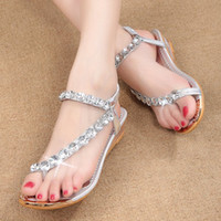 Wholesale rome sandals gold - 2017 summer new women student Diamond Beads sandals sweet pearl flip Rome shoes gold and silver Rhinestone