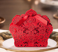Wholesale Cutting Food Box - Rose Laser Cut Hollow Candy Box Wedding Birthday Party Favors Gift Bags with Ribbon Christmas event decoration 5colors
