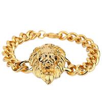 Wholesale Head Gold Bracelet - Gold Bracelet Men Hiphop Lion Head Bracelet Charms Stainless Steel Wrist Chains Punk Rock Bracelet 24cm