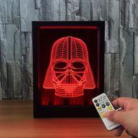 Wholesale Light Box Photo Frame - Death Vadar 3D LED Photo Frame Decoration Lamp IR Remote 7 RGB Lights 5V USB Powered Shipping Color Gift Box