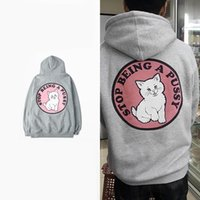 Wholesale Pussy Size - Autumn Winter Cartoon Middle Finger Cat Rip N Dip Stop Being a Pussy Cotton Sweatwear Sweatshirts Size S-3XL