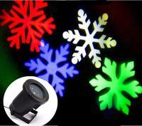 luz de película led al por mayor-LED RGBW 4LED Película de copo de nieve en movimiento Navidad Navidad Césped Espectáculo Proyector Luz exterior IP65 al aire libre láser luces navideñas lámpara de Navidad