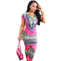 Wholesale Cheap Short Sleeve Skirt Suits - 2017 Vintage Autumn Mini Short Sleeve Printed Skirt Pants Suit Two Piece Set Bodycon Dress African Print Dashiki Dresses cheap