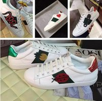 Wholesale Embroidery Printed Leather - Luxury Brand Embroidery Bee Snake Flower White Sneaker New Designer Original Box Mixed Colors Woman Casual Shoe Outdoors Show Shoes Size 40
