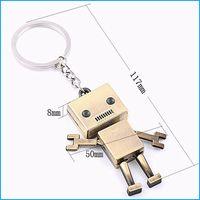 ingrosso anello chiave del robot-Portachiavi robot creativo, ciondolo anello portachiavi auto, regalo per donna uomo bambini (2 colori)