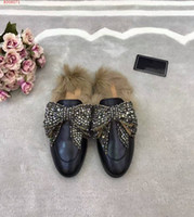Wholesale Breathe Easy - The new high-end custom leather slippers are comfortable and easy to breathe, with a bow fashion ladies' slippers