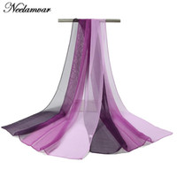 Wholesale Solid Georgette Scarf - Wholesale-painted gradient colors silk feeling georgette scarf Women Autumn and Winter long shawl Scarves soft echarpe solid scarves 2016