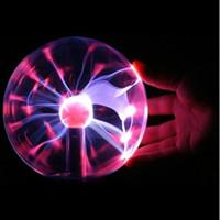 "Wholesale Electrostatic Lamp - Wholesale- 3"" USB Plasma Ball Electrostatic Sphere Light Magic Crystal Lamp Ball Desktop Lightning Christmas Party Touch Sensitive Lights"
