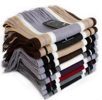 Wholesale Mens Black White Scarves - mens scarf striped scarf men shawls scarves fashion designer wrap business scarves oversized scarfs cashmere pashmina 10pcs Free Shipping