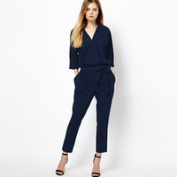 Wholesale European Ladies Jumpsuits - Wholesale- Rompers Womens Jumpsuit European Style Women New Summer Chiffon Women's Overall Fashion Waist Ladies Casual Pants Coveralls