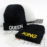 Wholesale Warm Stylish Winter Hats - Women Men Skull Cap King Queen Autumn Winter Hats Warm Fashion Knitted Beanie Lovers Stylish Hiphop