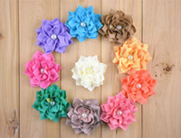 "Wholesale Kanzashi Headband - 60pcs Wholesale 3"" Winter Kanzashi Fabric Flower With Pearl Center baby girls dress up For Headbands free shipping"