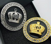 Wholesale Fashion Car Diamond Stickers - Hot 3D Metal Crown Diamond Car Styling Decoration Stickers Auto Emblem Badge Logo Personality Accessories Fashion Gold Silver